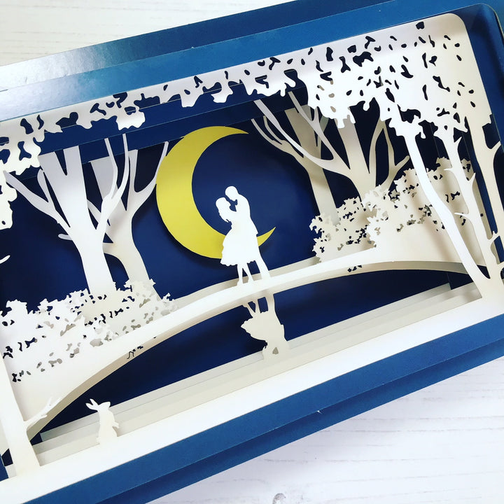 Message in a Bottle 3D Card - Couple by Moonlight