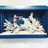 Message in a Bottle 3D Card Lighthouse