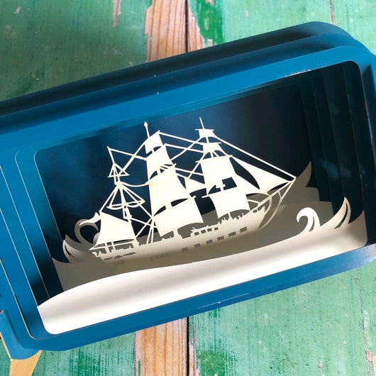 Message in a Bottle 3D Card - Ship in a Bottle