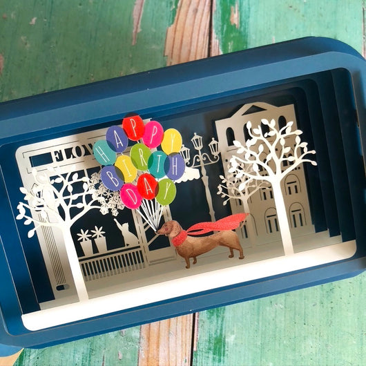 Message in a Bottle 3D Card - Birthday Balloon Dog