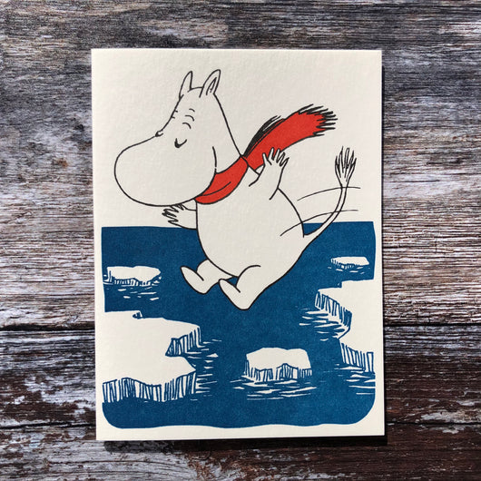 Moomin Ice Jumping Letterpress Card