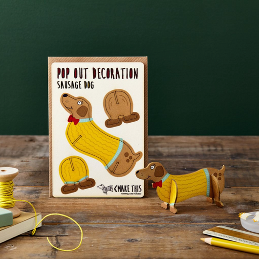 Sausage Dog Pop Out Decoration and Card