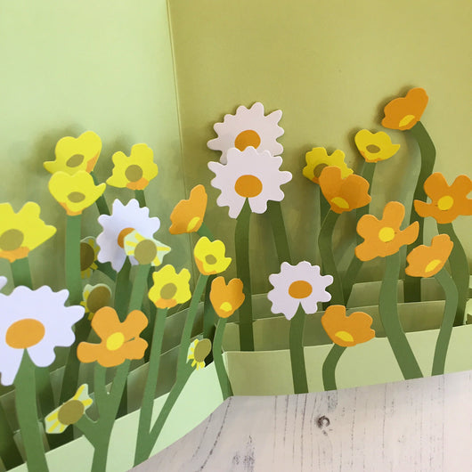 Pop Up 3D Field of Daisies Card by Two To Tango
