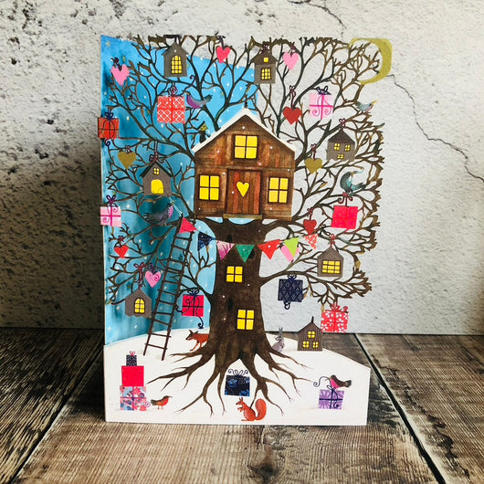Woodland Treehouse Laser Cut Christmas Card by Jane Ray