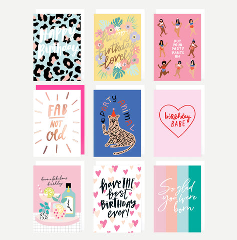 'Female Birthday' Greeting Card Pack - 9 Designs