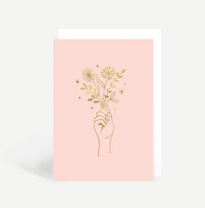 Flowers In Hand Greetings Card