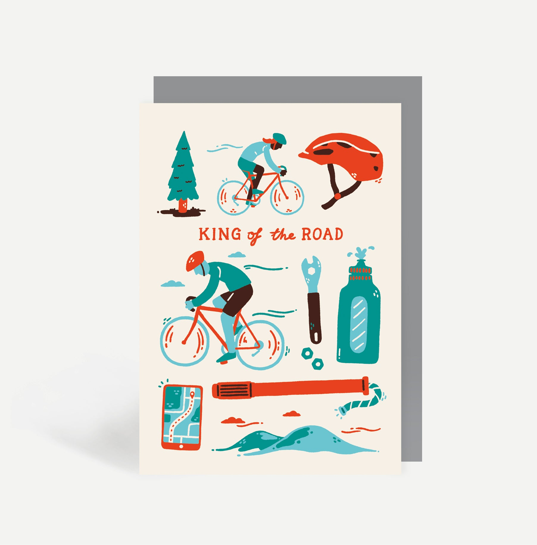 King Of The Road Cycling Greetings Card
