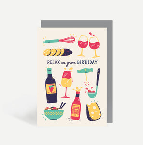 Food and Wine Greetings Card