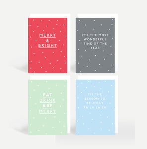 'Merry & Bright' Christmas Card Pack Of Eight
