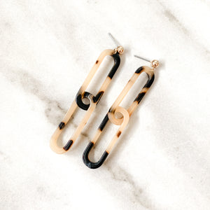 Lina Resin Link Earrings - Tortoiseshell