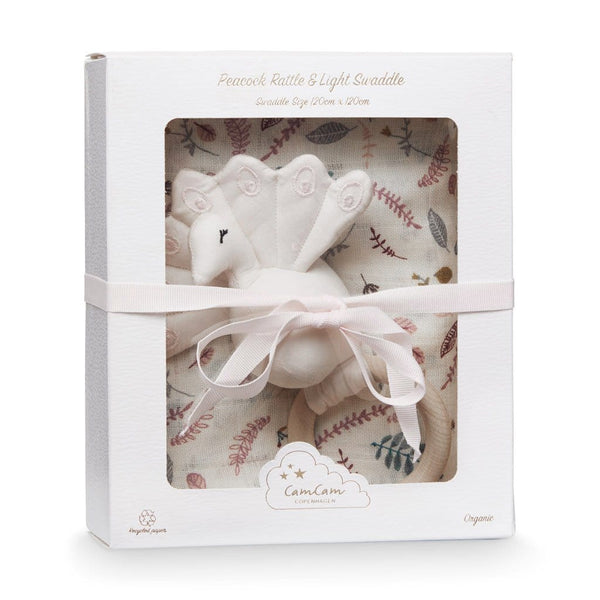 Gift Box w/ Printed Swaddle and Peacock Rattle - OCS Pressed Leaves Rose