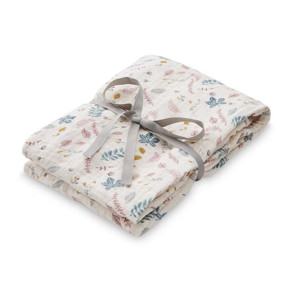 Swaddle, Muslin, Light, Printed - GOTS Pressed Leaves Rose