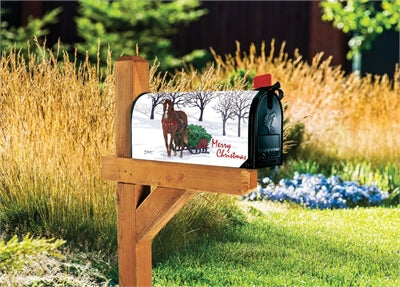 Horse Drawn Sled Mailbox Wrap