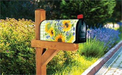 Sunflowers on Gingham Mailbox Wrap