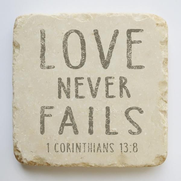 1 Corinthians 13:8 Scripture Stone - Small & Quarter Blocks