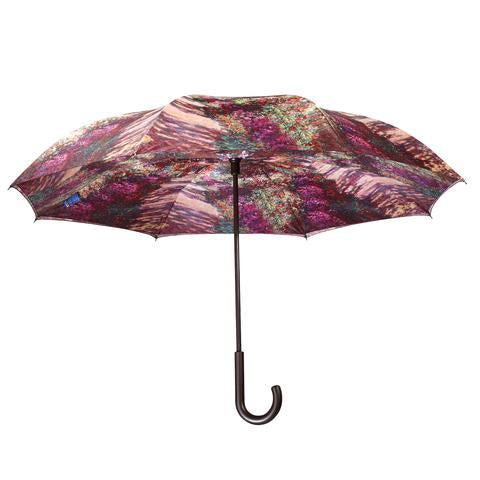 "Monet, ""A Pathway in Monet's Garden"" Reverse Close Umbrella"
