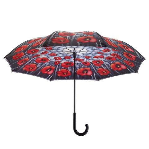 Stained Glass Poppies Reverse Close Umbrella