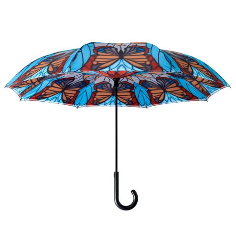 Stained Glass Butterfly Reverse Close Umbrella