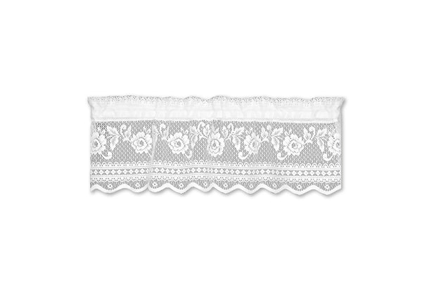 "Victorian Rose 36""x 11"" Insert Valance - White, Heritage Lace"
