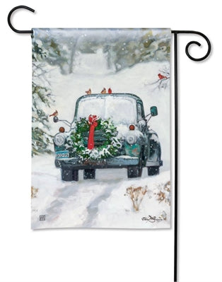 Snowy Roads Garden Flag