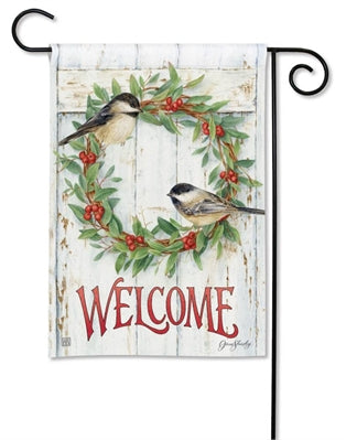 Chickadee Wreath Garden Flag