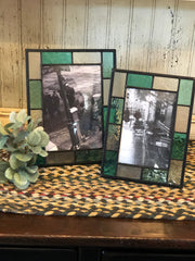 Vintage Teal Blue & Clear Stained Glass Frames
