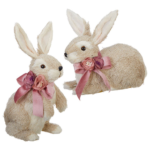 Natural Bunnies with Pink Ribbon Bows