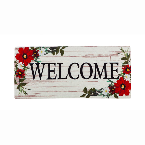 Red Floral Welcome Sassafras Mat Insert
