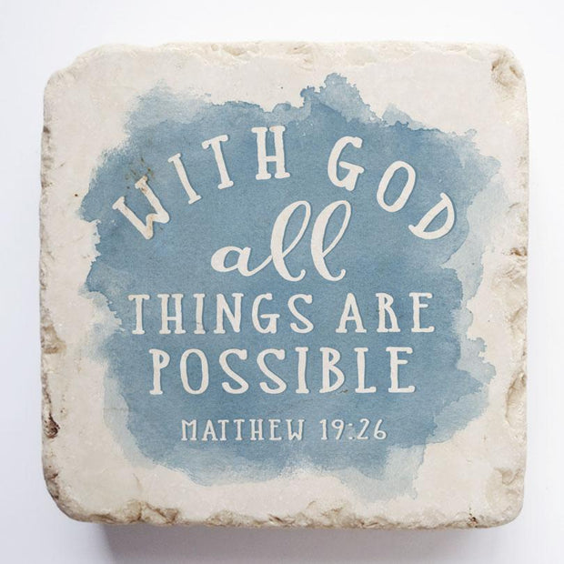 Matthew 19:26 Watercolor Scripture Stone