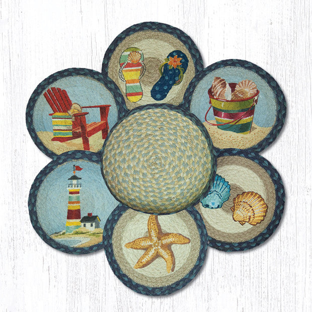 By the Sea Printed Jute Trivets in a Basket Set