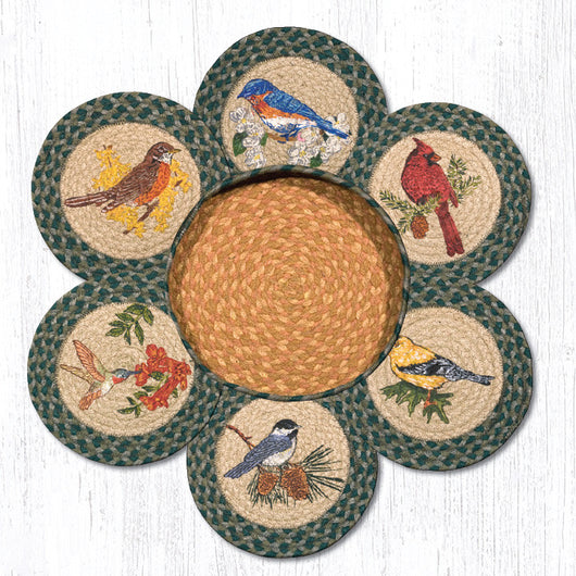 Song Bird Braided Jute Trivets in a Basket Collection