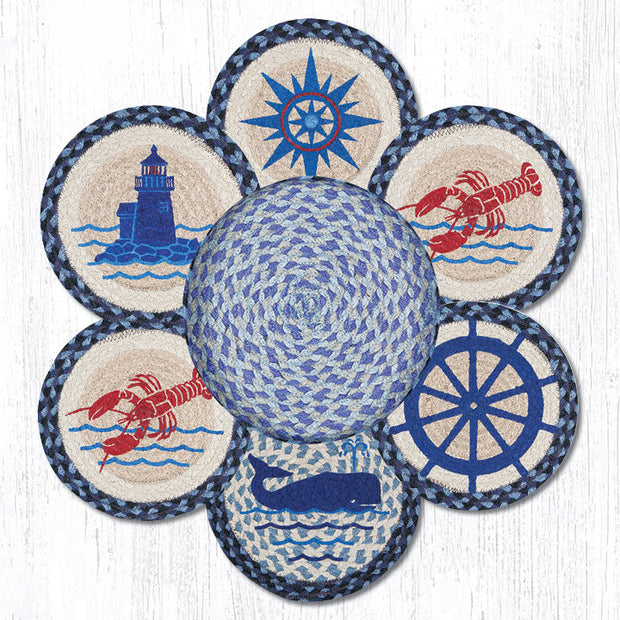 Nautical Braided Jute Trivets in a Basket Collection