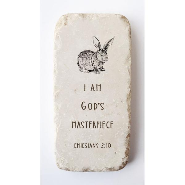 Ephesians 2:10 Scripture Stone with Bunny