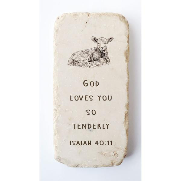 Isaiah 40:11 Scripture Stone with Lamb