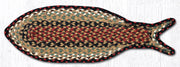 Capitol Earth Rugs Fish Shaped Braided Jute Rug, Burgandy Mustard