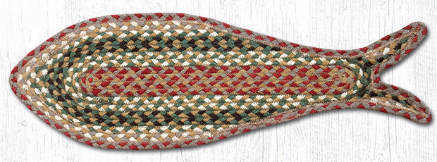 Capitol Earth Rugs Fish Shaped Braided Jute Rug, Olive Burgandy Green