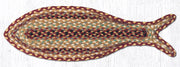 Capitol Earth Rugs Fish Shaped Braided Jute Rug, Burgandy Gray Cream
