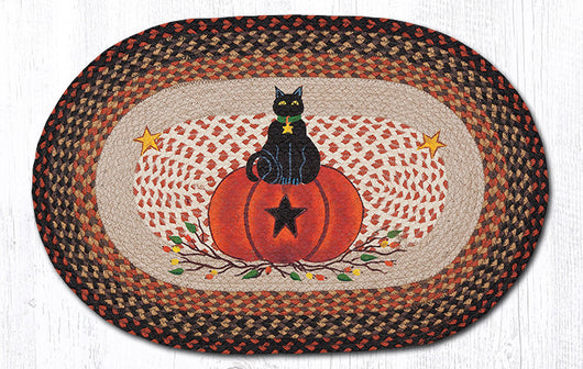 Capitol Earth Imports Black Cat Pumpkin Oval Patch Rug