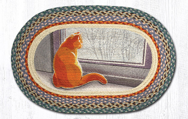 Capitol Earth Rugs Winter Cat Oval Patch Rug