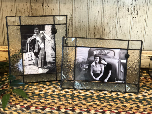 Vintage Glass Picture Frame with Heart