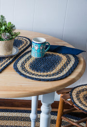 "Capitol Earth Rugs Braided Jute Oval Placemats, 13"" x 19"""