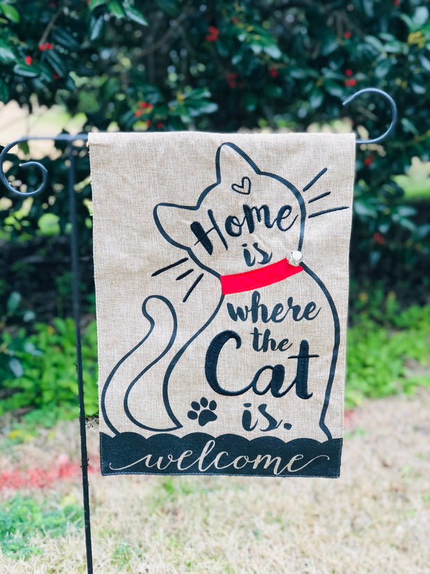 Home is where to Cat is Burlap Garden Flag