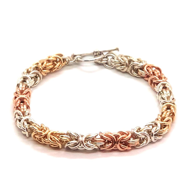 Mixed Metal Byzantine Bracelet with Toggle Clasp