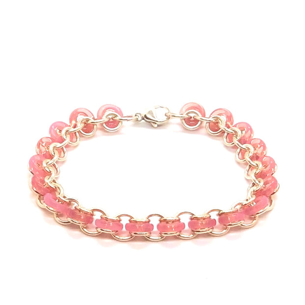 Chez Clouchez Sterling Silver and Pink Glass Rings Bracelet
