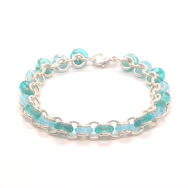 Chez Clouchez Sterling Silver and Turquoise & Aqua Glass Rings Bracelet
