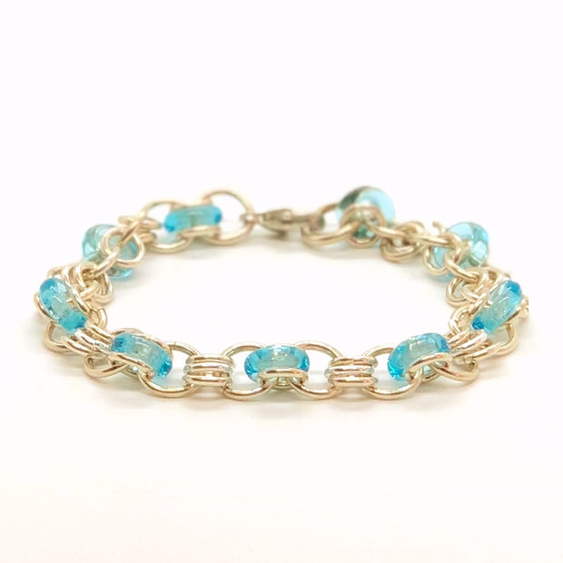 Chez Clouchez Sterling Silver and Aqua Glass Rings Bracelet