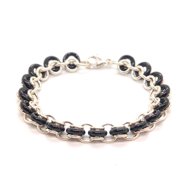 Chez Clouchez Sterling Silver and Black Glass Rings Bracelet