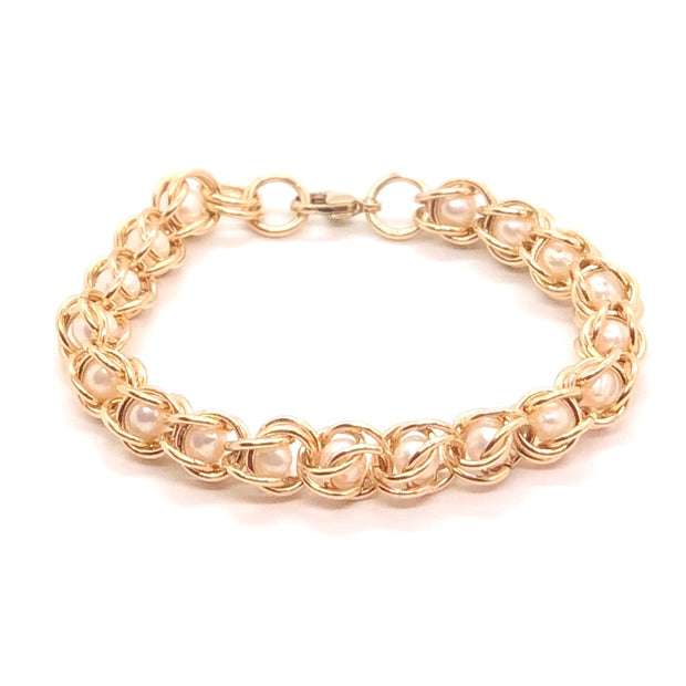 Chez Clouchez 14 Kt Gold-Fill and Pearl Beads Bracelet