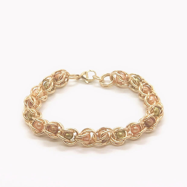 Chez Clouchez 14 Kt Gold-Fill and Olive, Peach, and Chocolate Beads Bracelet