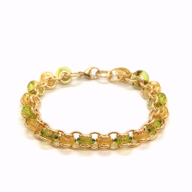 14Kt Gold-Fill with Green & Gold Glass Rings Bracelet